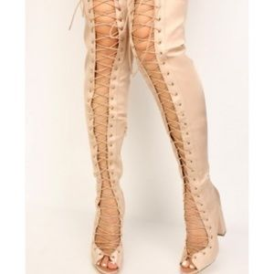 💥New Sexy Lace Up Liliana Nude Thigh High Boots